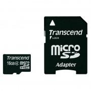 Card Transcend microSDHC 16GB Class 4 cu adaptor SD