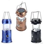 6 LED solar charger emergency lighting Super Bright Brown Plastic Lantern (24.6 cm X 8.6 cm Pack of 1)