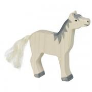 Fa játék állatok - ló, felemelt fejű, szürke sörényes