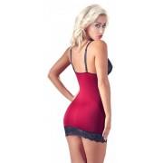 Cottelli - exkluzív fűzős-csipkés ruha (piros-fekete) M