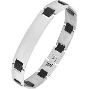 The Jewelbox Biker Black Accents 316L Surgical Stainless Steel Rhodium Bracelet For Boys Men