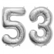 De-Ultimate Solid Silver Color 2 Digit Number (53) 3d Foil Balloon for Birthday Celebration Anniversary Parties