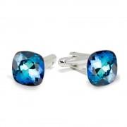 Victoria - Butoni Argint si Cristale Swarovski - Bermuda Blue