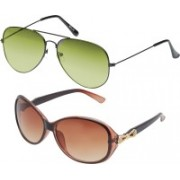 Vast Aviator, Sports, Retro Square, Butterfly, Over-sized, Round, Cat-eye Sunglasses(Green, Brown)