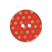 Knopf Pünktchen, aus Kokos, bunt bedruckt, 1 Stück, Ø 30 mm - Rot