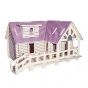 Phenovo 1 Set of 19PCS Wooden DIY 3D Jigsaw Purple House Model Construction Kit Toy Brain Teaser Creative Developmental Toy Puzzle Xmas Gift