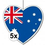 Geen 5x Australie hangdecoratie harten 28 cm