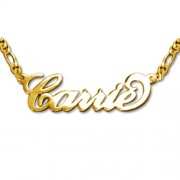Personalized Men's Jewelry Double Thickness 18K Gold Plated Silver Carrie Style Name Necklace 101-01-071-09