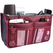 ROYALDEAL Handbag Organizer Travel Storage Bag Multi 13 Pocket Function Bag Organizer Purse Switcher Convenient Compact and Stylish - Maroon(Maroon)