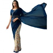 Indian Style Sarees New Arrivals Women's Blue Color Georgette Printed Half And Half Saree With Blouse Bollywood Latest