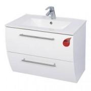 Mobilier Baie mDf alb suspendat 2 sertare soft close +lavoar 70 cm