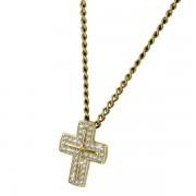 Pandant cruce din argint 925 placat cu aur si zirconii