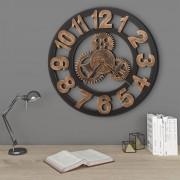 vidaXL Horloge murale Métal 58 cm Doré et noir