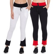 Cliths Cotton Slim Fit Solid Track Pants for Women| White Black Black Red Yoga Pant for Women/Girls-Pack Of 2