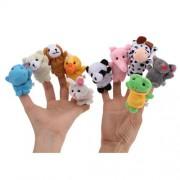 10 Pcs Funny Family Doll Zoo Farm Animal Finger Puppet Story Plush Cloth Cartoon Baby Kid Toy IA8