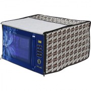 Glassiano Abstract White Printed Microwave Oven Cover for Panasonic 27 Litre Convection Microwave Oven NN-CT654M Silver