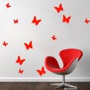 Jaamso Royals 'Red 3D Butterflies' Wall Sticker 1 Combo of 12 Piece (PVC Vinyl 13 cm x 15 cm 3D Stickers )