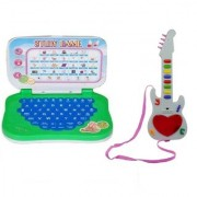 New Pinch Musical Combo of Mini English Learning Plastic Laptop with Mini Guitar 3D Lighting for Kids