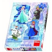 Puzzle 4 in 1 Dino Toys Poveste de iarna, 54 piese, 4-6 ani