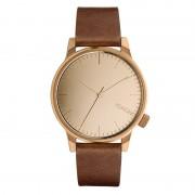 Pánské hodinky ve zlato-růžové barvě s hnědým páskem Komono Winston Mirror