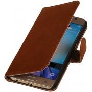 LELYCASE Bruin Samsung Galaxy A7 2015 A700F Lederen Booktype Telefoonhoesje