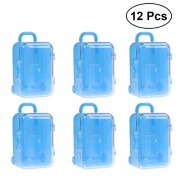 12pcs Luggage Shape Candy Box Plastic Party Favor Creative Suger Gift Box (Blue)
