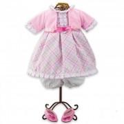 Rózsaszín - fehér, kockás lány babaruha és babacipő játékbabáknak