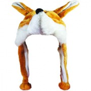 Soft Faux Fur Plush Stuffed Cute Wolf Animal Costume Cap with Toy Hood for Boys and Girls (Beige Free Size)