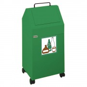 Wertstoffbehälter Volumen 45 l, BxHxT 320 x 710 x 310 mm, fahrbar Stahlblech, grün RAL 6024