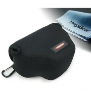 MegaGear Ultra Light Neoprene Camera Case Bag with Carabiner for Canon PowerShot SX510 SX420 IS SX410 IS SX400 (Black