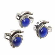 Lot Of 12 Assorted Sizes Stainless Steel Dolphin Theme Mood Rings