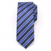 Férfi keskeny nyakkendő (1311-es minta) 8466 kék színben, sötétkék csíkokkal