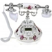 Teléfono Fijo Antiguo Estilo Retro Resina Flores Plateado Blanco Decoración Casa