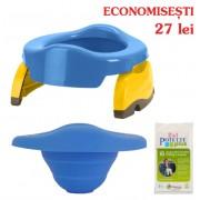 PACHET ECONOMIC: olita portabila albastra + liner reutilizabil + 10 pungi