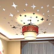 3D Zrkadlové hviezdičky na stenu, strop (43 kusov)