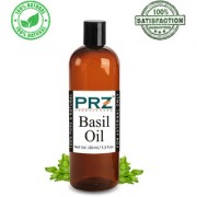 PRZ Basil ( Tulsi ) Essential Oil (100ML) - Pure Natural & Therapeutic Grade Oil For Aromatherapy Body Massage Skin Care & Hair Care