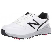 New Balance Men's Sweeper Waterproof Spiked Comfort Golf Shoe, white/black, 11 2E 2E US