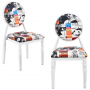 [en.casa]®,Дизайнерски стол комплект от 2 броя, Бели