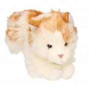 Pluche knuffel wit/bruin gevlekte kat 26 cm