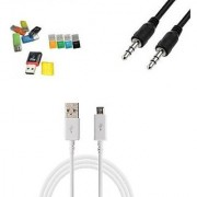 Combo of Card Reader + Aux Cable + data cable (Assorted Colors)