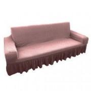 Husa elastica bicolora/gofrata cu bumbac cu volan pentru canapea 3 locuri TRADE STORE DELIVERY Bumbac si Poliester Roz