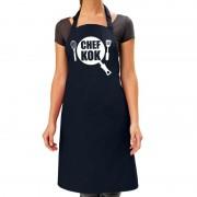 Bellatio Decorations Chef kok barbeque schort / keukenschort navy blauw dames - Feestschorten
