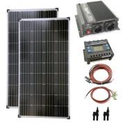 Komplett szett 2x130 wattos napelem + 1000 wattos inverter + töltővezérlő