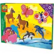 Детски креативен комплект с Мъниста - Животни, SES, 080878