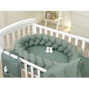 Protectie laterala patut bebe Bumper impletit Inchidere Velcro Sweater Salvia 210 cm