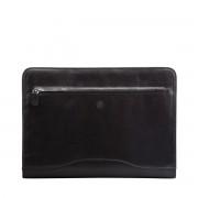 Hochwertige Leder Ringbuchmappe in Schwarz
