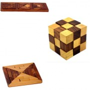 Phirk Craft Wooden Puzzle Game Of Cube shape Square Shape and Rectangle Shape