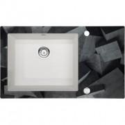 Capella Beton üveg-gránit mosogató - fózolt 86x50x20 cm, alabástrom