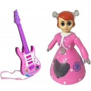 New Pinch Combo of Rockband Musical Instrument Guitar (53 cm) with Dancing and Rotating Princess Doll Toy with 3D Flashi