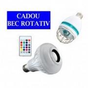 Bec Bluetooth cu Difuzor Jocuri de Lumini si Telecomanda + CADOU Bec Rotativ Cu Efect Disco